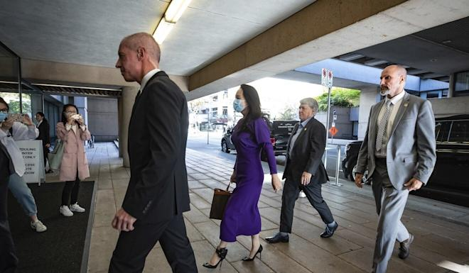 Meng arriving at the British Columbia Supreme Court for the hearing on Tuesday. Photo: The Canadian Press via AP