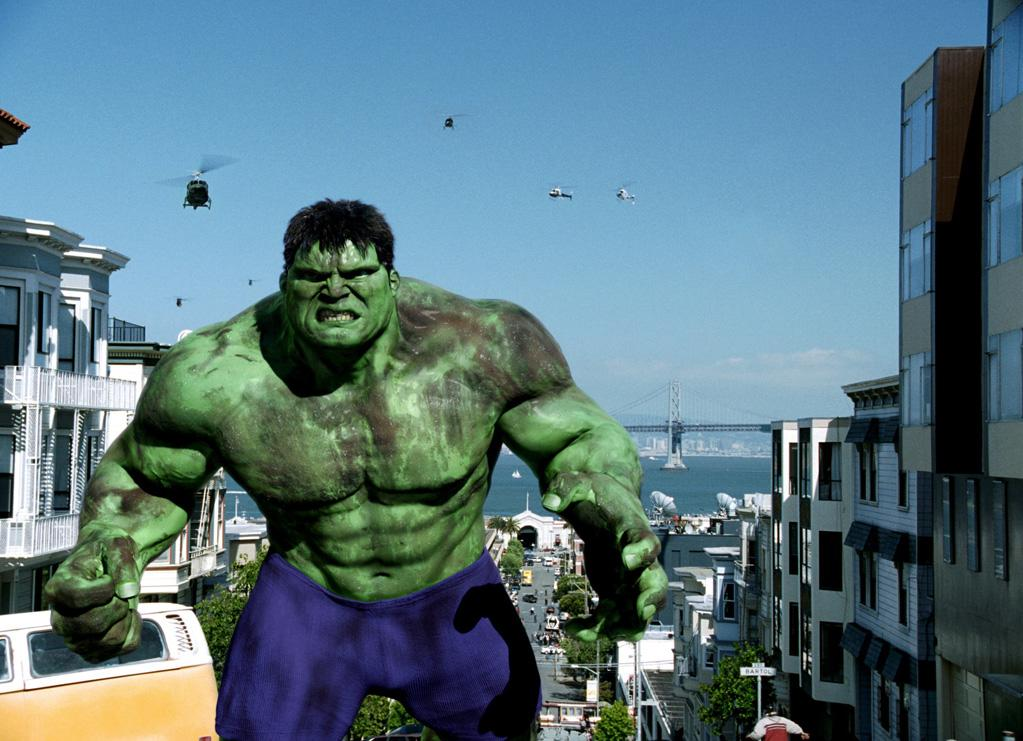 """THE HULK<br>"""" <a href=""""http://movies.yahoo.com/movie/1807592188/info"""">The Hulk</a>""""<br>Grade: D <br>Violet capri pants on men are always a no-no, even in San Francisco."""