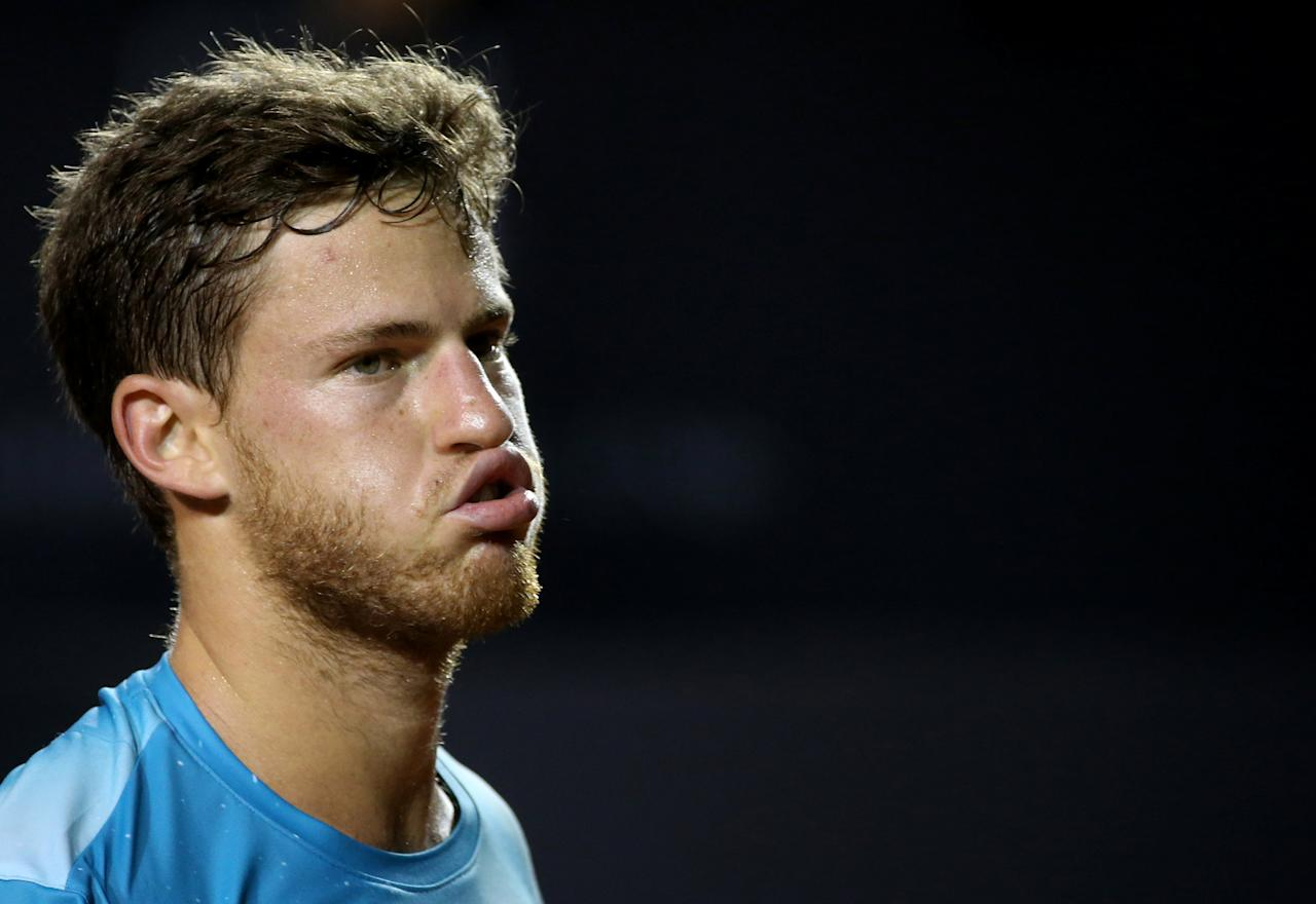 Tennis - ATP 500 - Rio Open - Quarterfinal - Rio de Janeiro, Brazil - February 23, 2018 Diego Schwartzman of Argentina reacts during his mach against Gael Monfils of France. REUTERS/Sergio Moraes