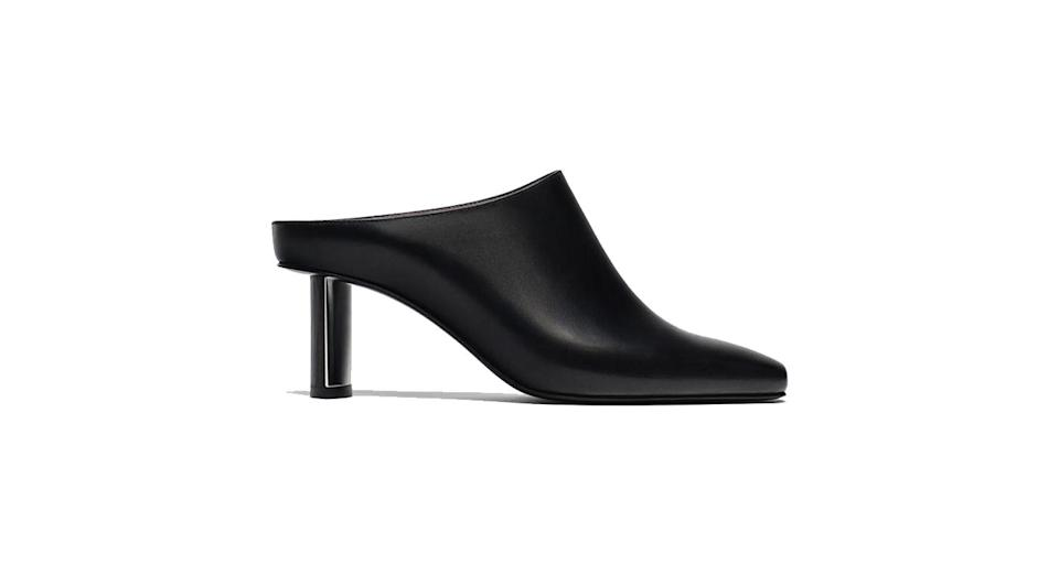 """<p>Smarten up any look with a chic pair of heeled mules. This Uterque pair have our names on. <br><a rel=""""nofollow noopener"""" href=""""https://www.uterque.com/gb/new-in/view-all/black-high-heel-mules-c1864001p8365502.html?colorId=040"""" target=""""_blank"""" data-ylk=""""slk:Buy here."""" class=""""link rapid-noclick-resp"""">Buy here. </a> </p>"""