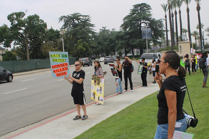 Demonstrators arrived at 11 a.m. on Saturday when the gates opened at Santa Anita Park. (Josh Schafer/Yahoo Sports)