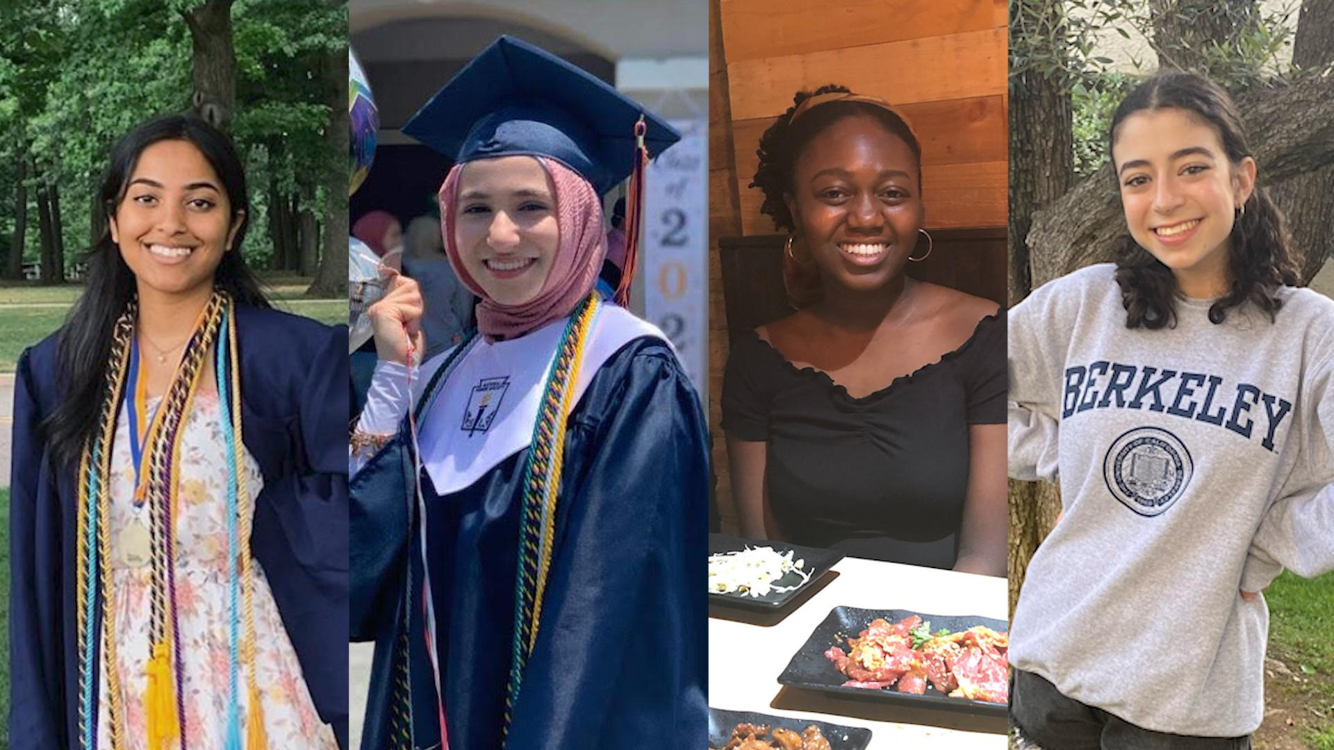 College freshmen and Built by Girls community members, from left: Shehneel Ashraf, Ethar Hussein, Olamide Babayeju and Olivia Kris. (Photo collage by Yahoo Life)
