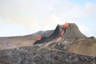 Volcanic site after eruption on Reykjanes Peninsula in Iceland
