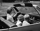 """<p>Little kids would sit in the passenger seat without a seatbelt. The """"safety method"""" was this: Mom or Dad would fling an arm in front of you if they had to stop short. Infants rode sometimes in unattached baby seats. They were kept up front in the seat next to Mom—or in someone's lap! Bigger babies or toddlers rode in in shoddy car seats. Seat belts just went across the lap. Serious seat belts and appropriate <a href=""""https://www.cdc.gov/mmwr/preview/mmwrhtml/mm4818a1.htm"""" rel=""""nofollow noopener"""" target=""""_blank"""" data-ylk=""""slk:car seat regulations"""" class=""""link rapid-noclick-resp"""">car seat regulations</a> did not arrive <a href=""""http://www.sciencedirect.com/science/article/pii/S0277953613005832"""" rel=""""nofollow noopener"""" target=""""_blank"""" data-ylk=""""slk:until the '70s"""" class=""""link rapid-noclick-resp"""">until the '70s</a> and airbags in the '80s.<br></p>"""