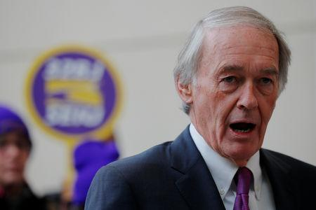 FILE PHOTO: U.S. Senator Ed Markey (D-MA) speaks about federal government employees working without pay and workers trying to unionize at Logan Airport in Boston, Massachusetts, U.S., January 21, 2019.   REUTERS/Brian Snyder/File Photo