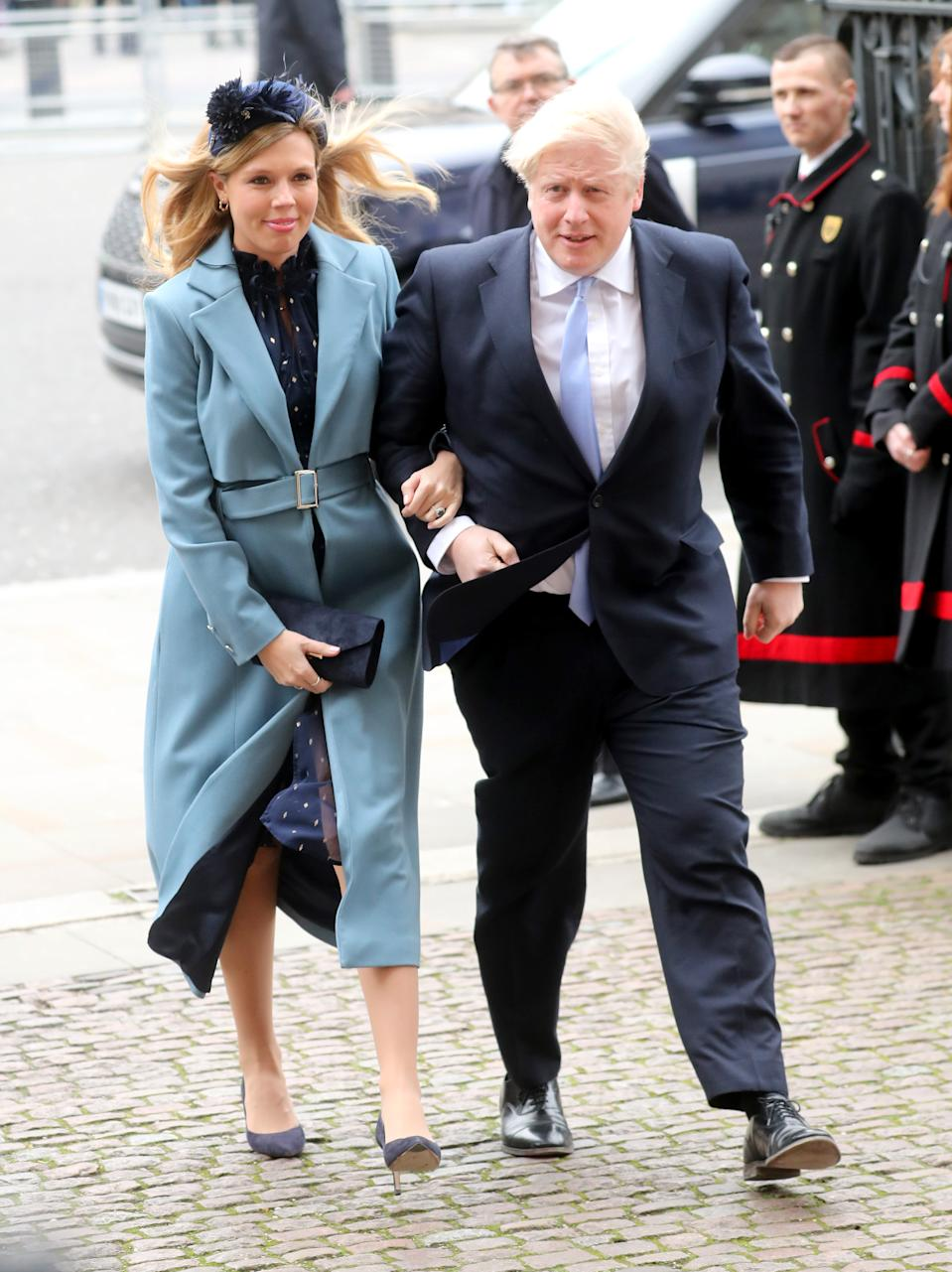 Prime Minister Boris Johnson and Carrie Symonds at the Commonwealth Day Service 2020 at Westminster Abbey on March 9. (Getty Images)