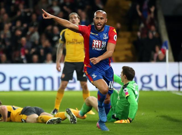 <p>Andros Townsend wheels away in triumph after making it 1-0</p>
