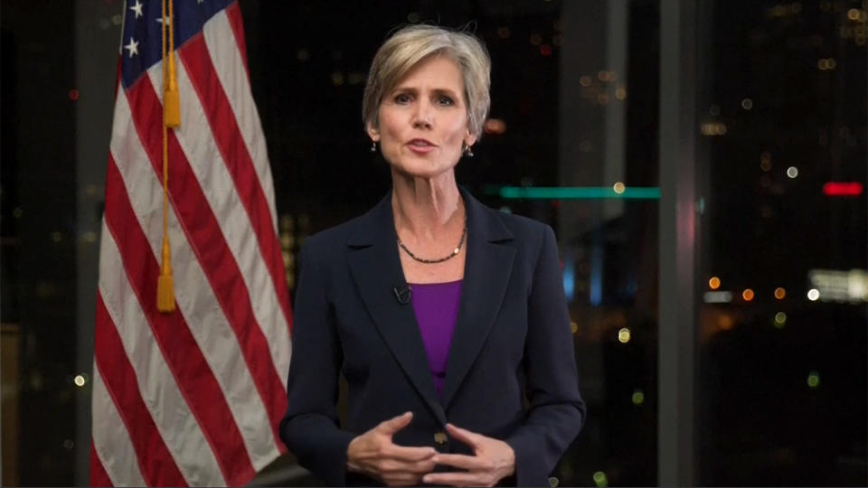 Sally Yates speaks during the virtual Democratic National Convention on August 18, 2020. (via Reuters TV)