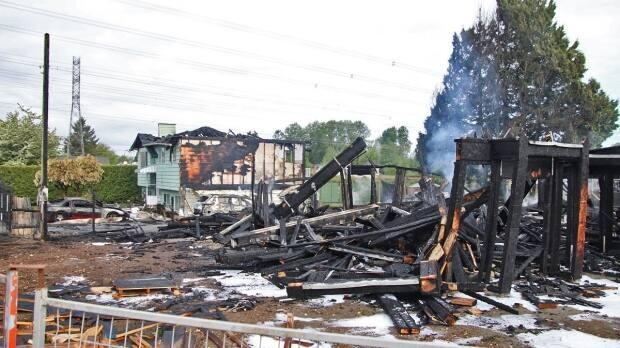 Two homes were destroyed in the fire Sunday morning. One house was under construction, while the secondhome was evacuated.  (Shane MacKichan - image credit)