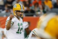 Aaron Rodgers #12 of the Green Bay Packers warms up before the game against the Chicago Bears at Soldier Field on September 05, 2019 in Chicago, Illinois. (Photo by Jonathan Daniel/Getty Images)