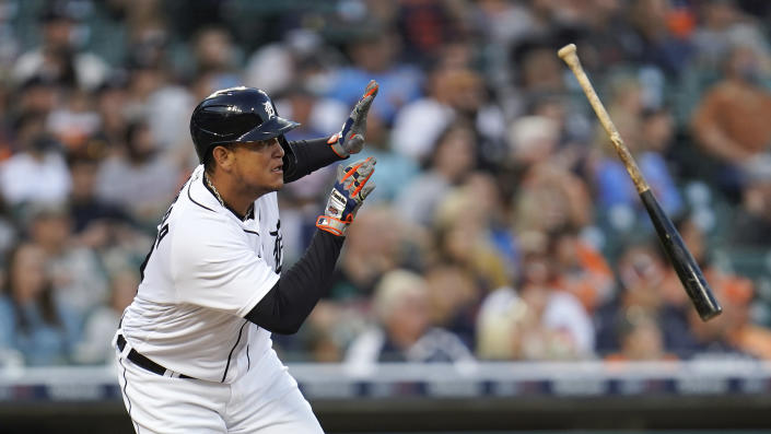 Detroit Tigers' Miguel Cabrera singles against the Tampa Bay Rays in the second inning of a baseball game in Detroit, Friday, Sept. 10, 2021. (AP Photo/Paul Sancya)