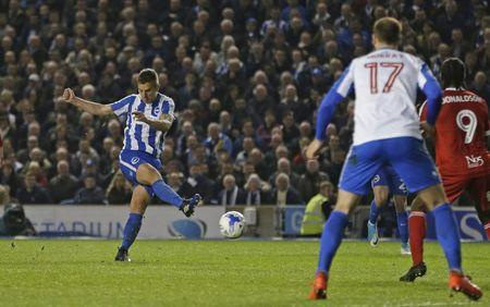 Britain Football Soccer - Brighton & Hove Albion v Birmingham City - Sky Bet Championship - The American Express Community Stadium - 4/4/17 Uwe Huenemeier of Brighton and Hove Albion scores their third goal Mandatory Credit: Action Images / Henry Browne Livepic