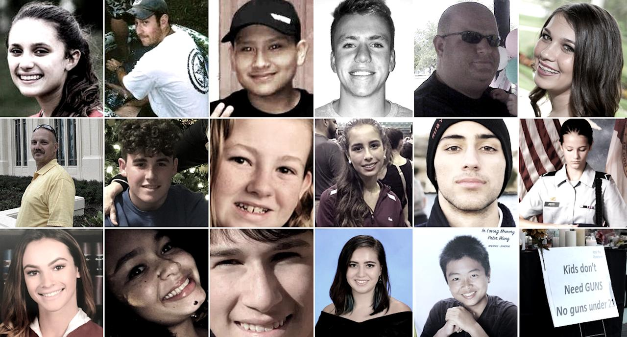 <p>Top row, from left: Alyssa Alhadeff, Scott Beigel, Martin Duque, Aaron Feis, Jaime Guttenberg, Middle row, from left: Chris Hixon, Luke Hoyer, Cara Loughran, Gina Montalto, Joaquin Oliver, Alaina Petty. Bottom row, from left: Meadow Pollack, Helena Ramsey, Alex Schachter, Carmen Schentrup, Peter Wang, Pine Trail Park. (Photos: Facebook (2), Go Fund Me, Instagram, AP (2), Facebook, Joan Cox via AP, Go Fund Me, AP, Twitter, Facebook (3), Go Fund Me, MSD, Allen Breed/AP, Mark Wilson/Getty Images) </p>