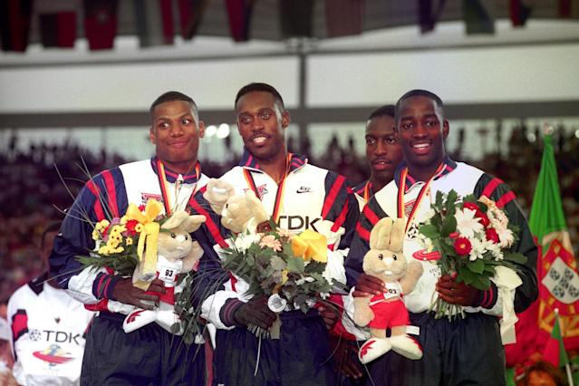 <p>Michael Johnson, the American track hero, was part of the US team that ran a time of 3:54.39 in the 4x400m relay at the 1993 World Championships – a record that would no longer stand. </p>