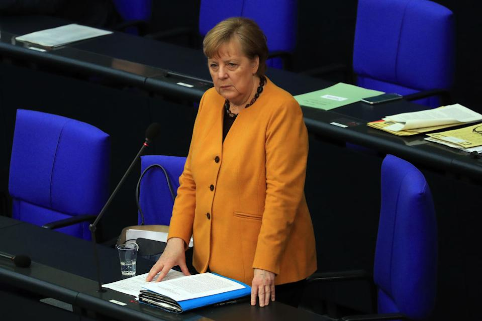 Angela Merkel, Germany's chancellor, takes questions in the Bundestag in Berlin, Germany, on Wednesday, March 24, 2021. Merkeldropped plans for a five-day Easter shutdown amid massive criticism in the latest setback for Germany's pandemic fight. Photographer: Krisztian Bocsi/Bloomberg