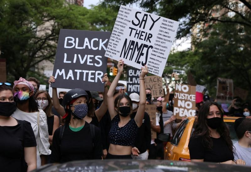 Protesters rally against the death in Minneapolis police custody of George Floyd, in New York