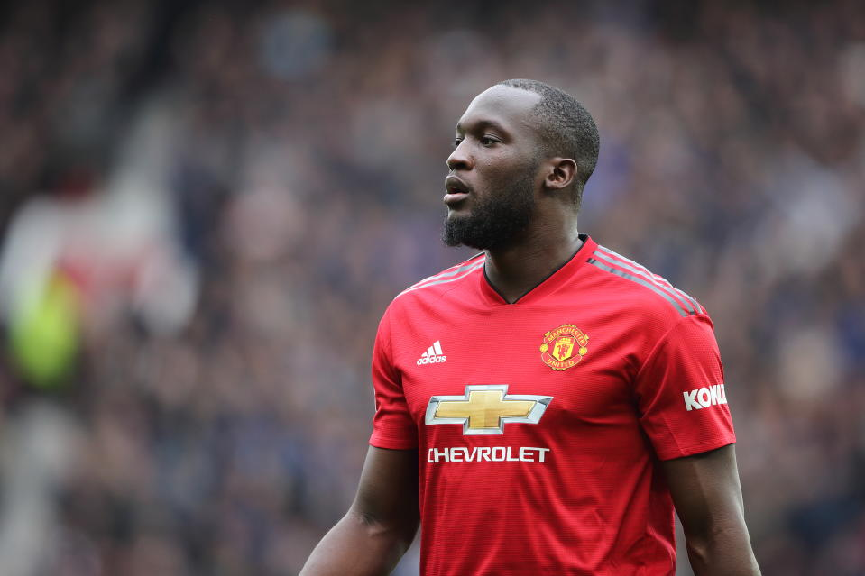 MANCHESTER, ENGLAND - APRIL 28: Romelu Lukaku of Manchester United during the Premier League match between Manchester United and Chelsea FC at Old Trafford on April 28, 2019 in Manchester, United Kingdom. (Photo by Matthew Ashton - AMA/Getty Images)