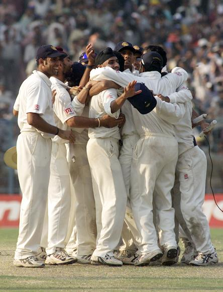 The Indians celebrate the win, after day five of the 2nd Test between India and Australia played at Eden Gardens, Calcutta, India. India won by 171 runs X DIGITAL IMAGE  Mandatory Credit: Hamish Blair/ALLSPORT