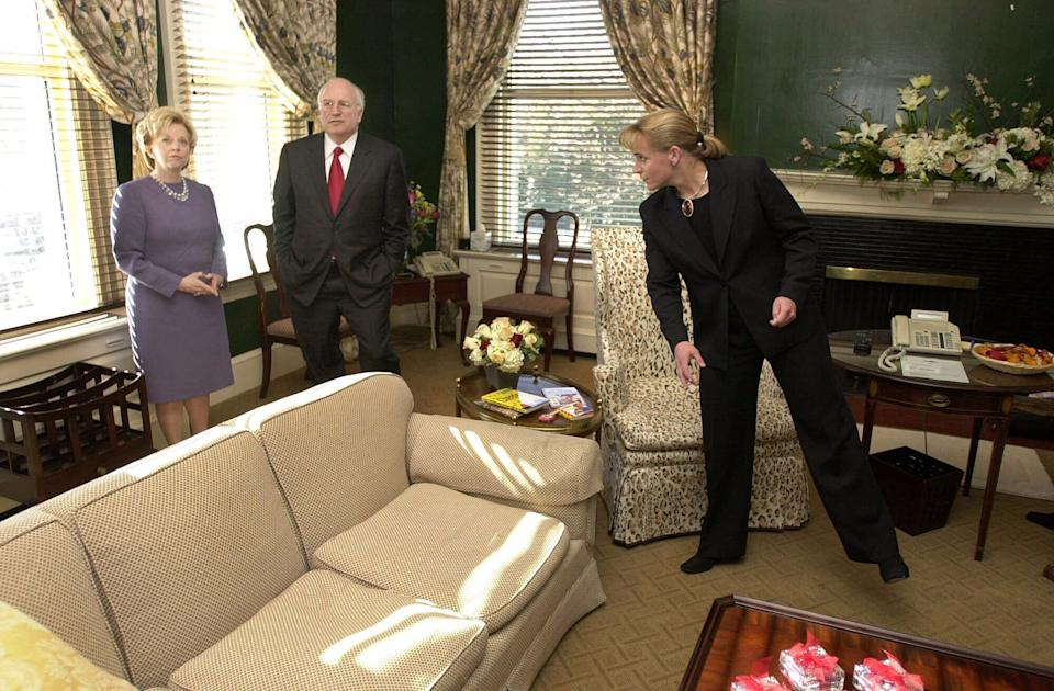 Dick Cheney, his wife, Lynne, and their daughter Mary tour the vice president's residence before hosting a reception at their new home on Jan. 21, 2001.