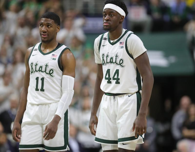 Michigan State forwards Aaron Henry and Gabe Brown during the second half of MSU's 87-69 win over U-M on Sunday, Jan. 5, 2020, in East Lansing.