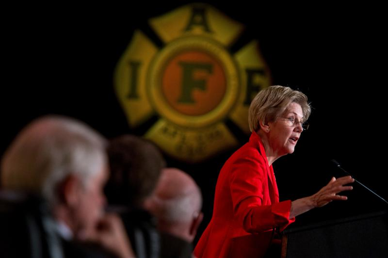 Sen. Elizabeth Warren (D-Mass.) speaks during the International Association of Fire Fighters Legislative Conference General Session at the Hyatt Regency on Capitol Hill on March 9, 2015.