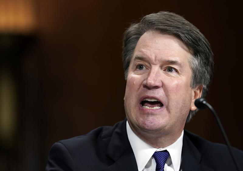 """Judge Brett Kavanaugh blamed the accusations that he sexually assaulted a woman when they were in high school on someone getting """"revenge for the Clintons."""" (Bloomberg via Getty Images)"""