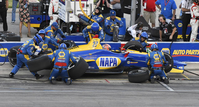 Alexander Rossi makes a pit stop during the IndyCar auto race Saturday, June 9, 2018, in Fort Worth, Texas. (AP Photo/Larry Papke)