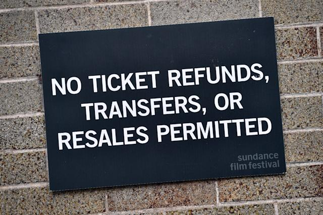 A sign as complaints over company refund policies and price hikes have soared. (David Becker/Getty Images)