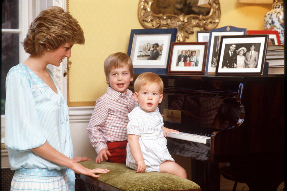 Prince William, left, and Prince Harry with their mother, Princess Diana. (Photo: Getty Images)