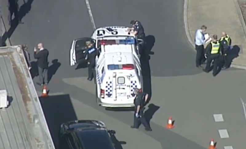 Police at the scene of an alleged stabbing on Saturday morning. Source: Nine News