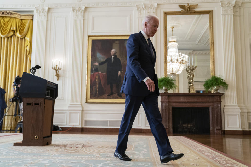 FILE - In this Aug. 26, 2021, file photo President Joe Biden walks off after speaking about the bombings at the Kabul airport that killed at least 12 U.S. service members, from the East Room of the White House in Washington. The need for crisis-driven leadership comes to all U.S. presidents. Now, on several fronts at once, it has come to President Joe Biden. As the president who is ending America's longest war, in Afghanistan, he will be judged by history for how he did it. (AP Photo/Evan Vucci, File)