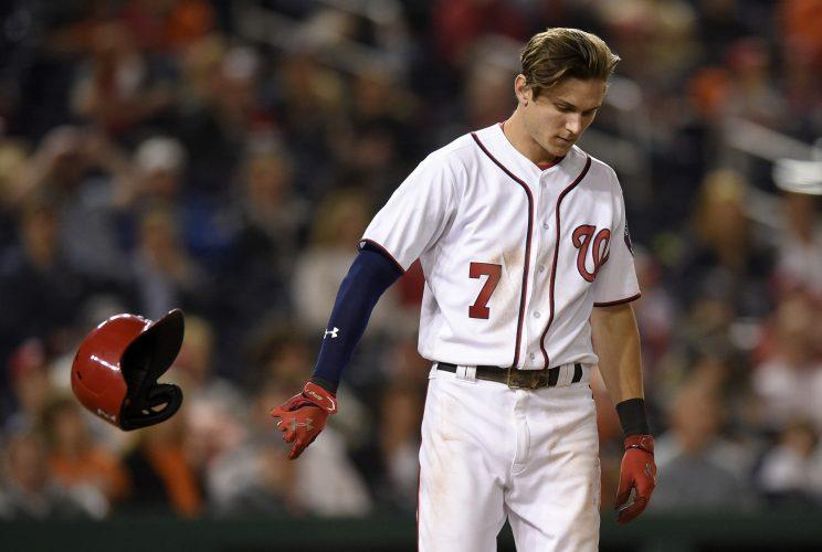 Trea Turner is out indefinitely with a broken right wrist. (AP Photo)