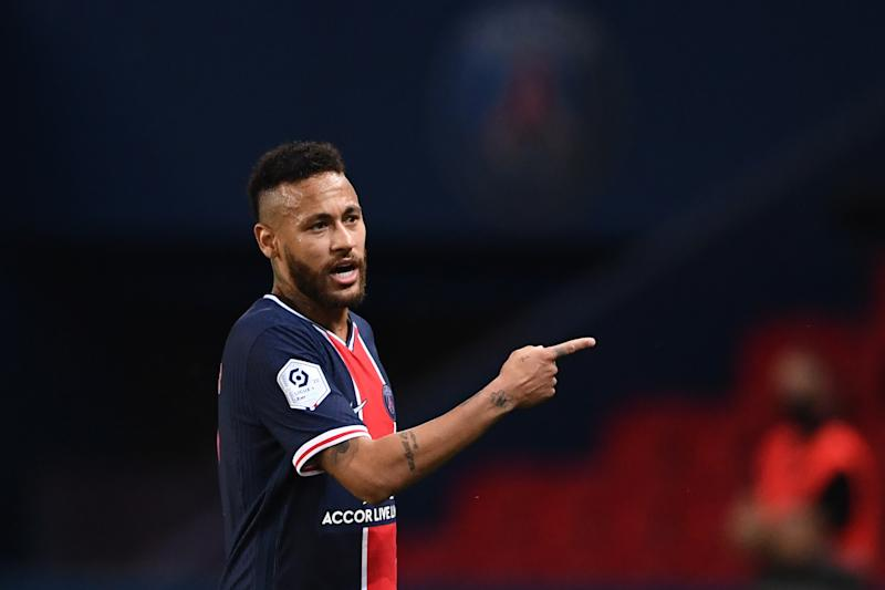 Paris Saint-Germain's Brazilian forward Neymar walks off the pitch after a red card during the French L1 football match between Paris Saint-Germain (PSG) and Marseille (OM) at the Parc de Princes stadium in Paris on September 13, 2020. (Photo by FRANCK FIFE / AFP) (Photo by FRANCK FIFE/AFP via Getty Images)