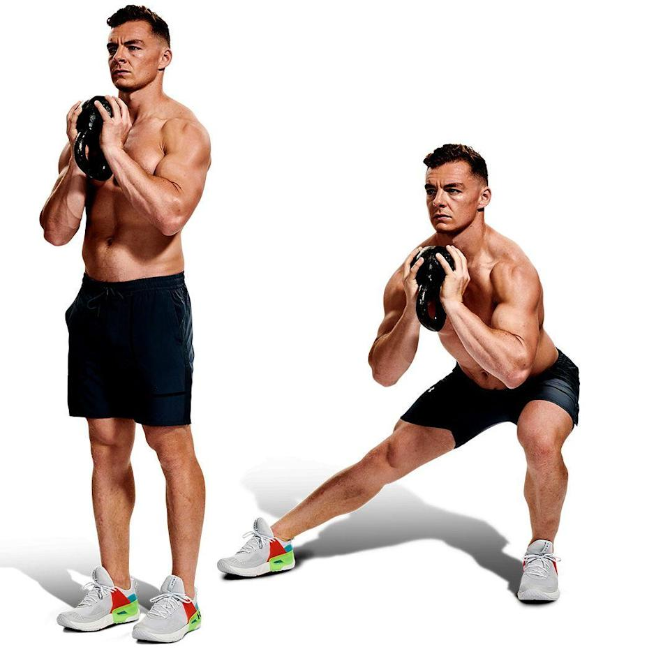 <p>From standing, still holding the kettlebell, lunge out to the left and plant your foot solidly on the floor, so you don't rock your ankle. Bend your left knee but keep your right leg straight. Pause, then drive your left foot into the floor to push yourself back up to the starting position. Reverse and repeat. </p>