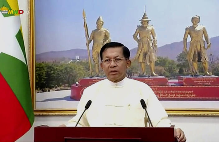 FILE - In this file image from video broadcast April 18, 2021, over the Myawaddy TV channel, Senior Gen. Min Aung Hlaing delivers his address to the public during Myanmar New Year. One hundred days since their takeover, Myanmar's ruling generals maintain just the pretense of control over the country. (Myawaddy TV via AP)