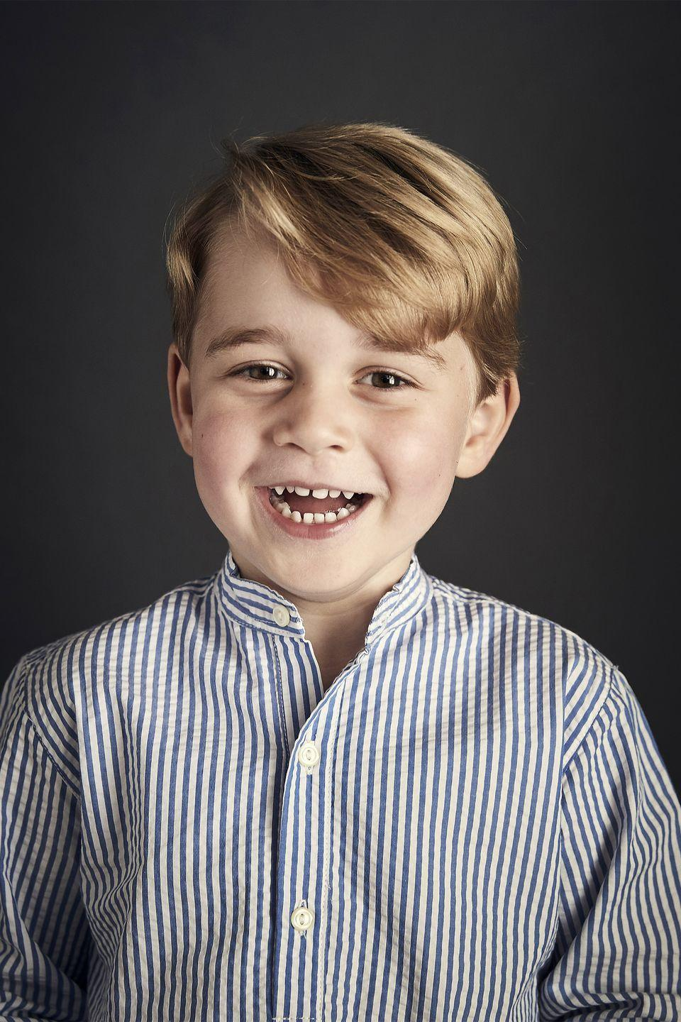 <p>Ahead of his fourth birthday, Prince George is all smiles in an official portrait taken at Kensington Palace.</p>