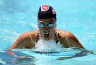 Stephanie Rice of Australia swims the breaststroke during the women's 200 meter IM during day 4 of the Santa Clara International Grand Prix at George F. Haines International Swim Center on June 3, 2012 in Santa Clara, California. (Photo by Ezra Shaw/Getty Images)