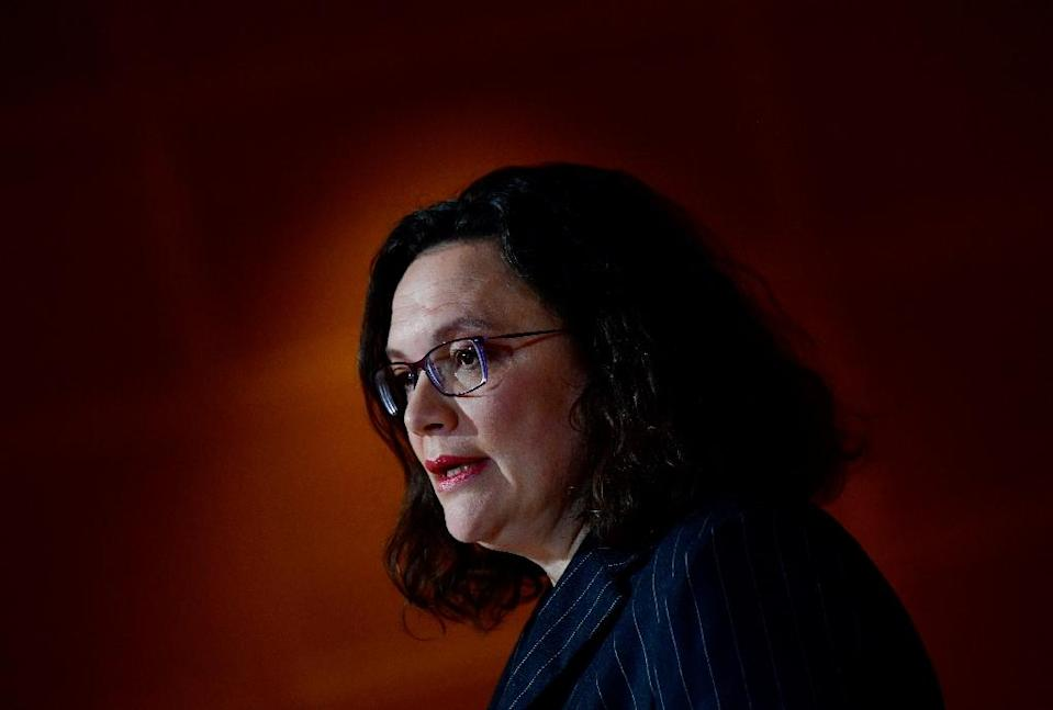 The leader of Germany's social democratic SPD party Andrea Nahles reacts as first exit polls were announced on public television during the state elections in Hesse (Hessen) at the SPD headquarters in Berlin, on October 28, 2018 (AFP Photo/Tobias SCHWARZ)