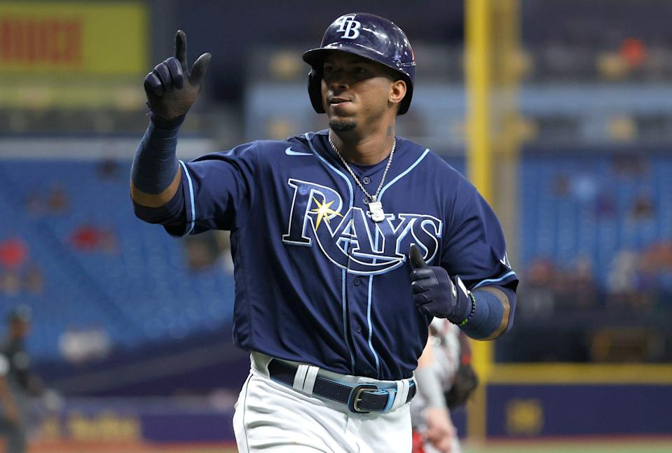 Tampa Bay Rays shortstop Wander Franco scores a run during the third inning against the Boston Red Sox at Tropicana Field.