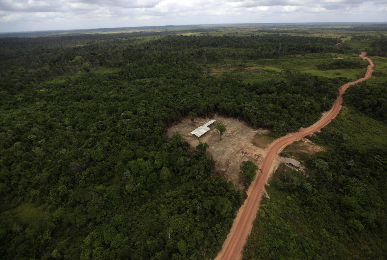 The construction site of an illegal sawmill is seen from a police helicopter during a sting operation against sawmills and loggers who trade in illegally-extracted wood from the Alto Guama River indigenous reserve in Nova Esperanca do Piria, Para state in this September 29, 2013 file photo To match Special Report BRAZIL-DEFOREST/ REUTERS/Ricardo Moraes/Files (BRAZIL - Tags: ENVIRONMENT CRIME LAW POLITICS BUSINESS CONSTRUCTION)