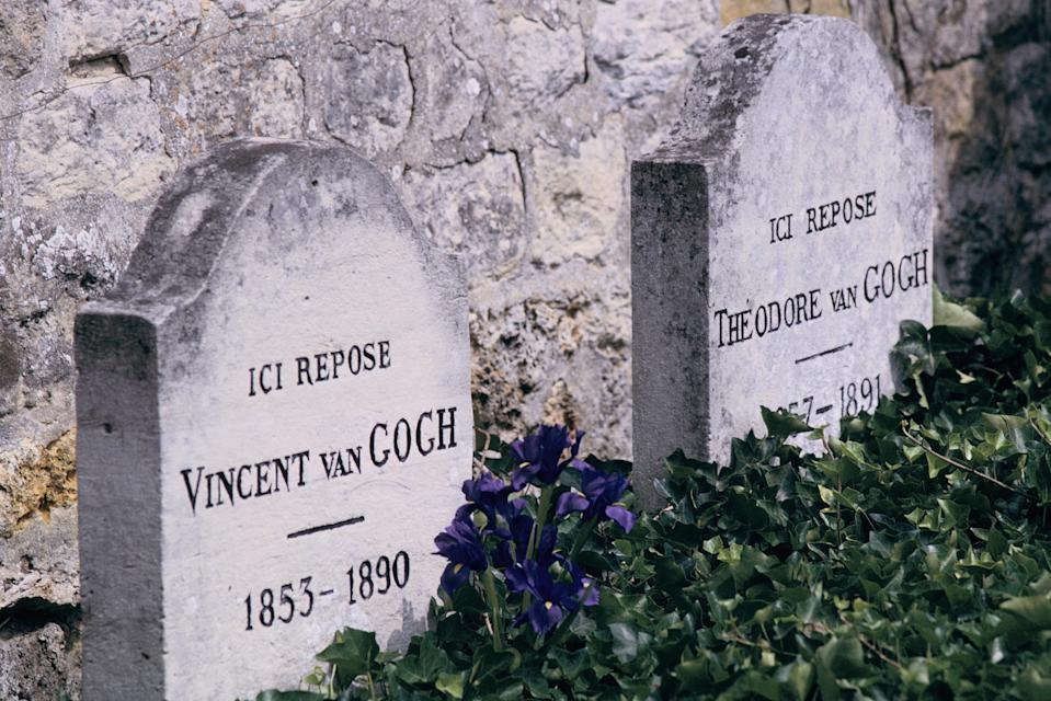 The graves of Vincent Van Gogh and his brother Theo rest side-by-side in Auvers-sur-Oise, France. Theo's widow, Johanna Van Gogh-Bonger, helped Vincent achieve fame after death. (Photo: Marc Deville/Getty Images)