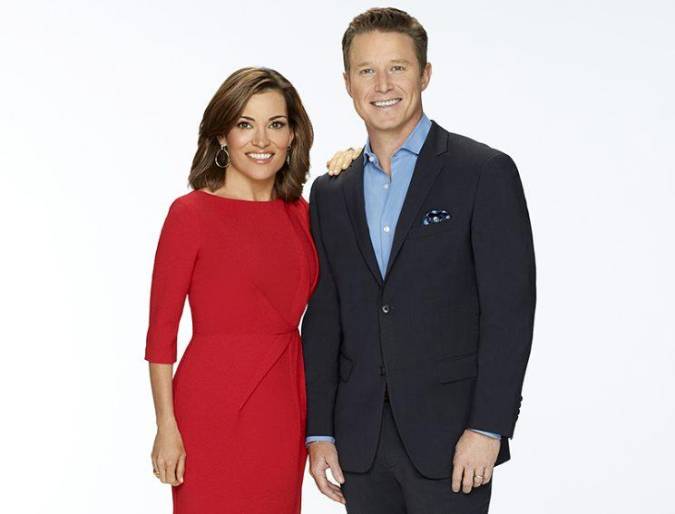 ACCESS HOLLYWOOD -- Season: 2014 -- Pictured: (l-r) Kit Hoover, Billy Bush -- (Photo by: Chris Haston/NBC/NBCU Photo Bank via Getty Images)