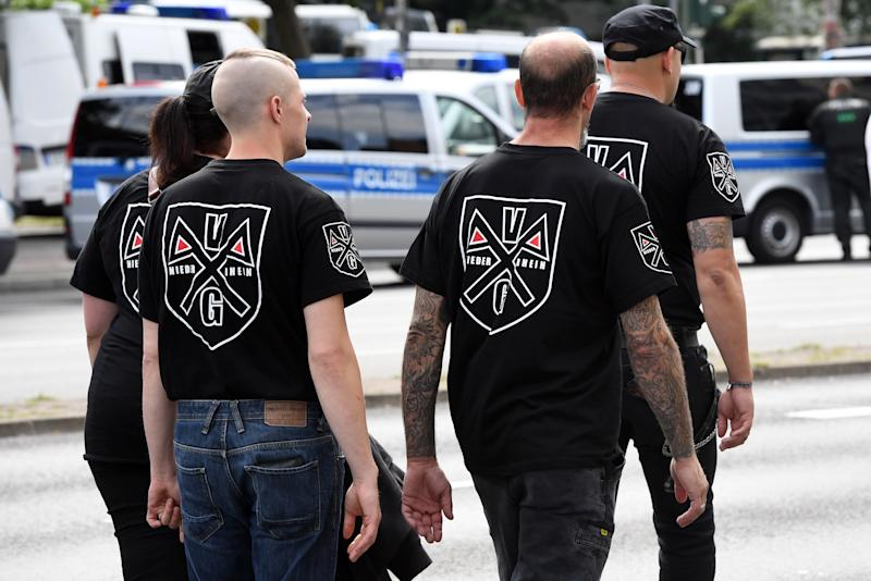 Right-wing extremists in Berlin in 2017 commemorate the 30th anniversary of the death of Adolf Hitler's deputy Rudolf Hess. (Maurizio Gambarini/Picture Alliance via Getty Images)