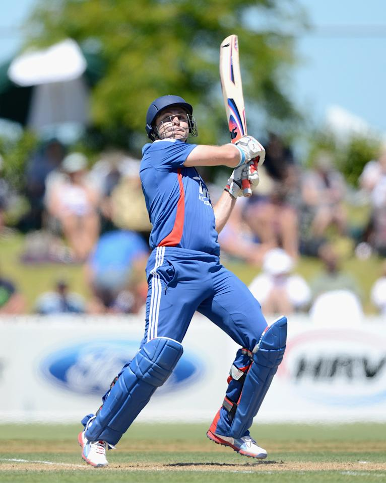 WHANGAREI, NEW ZEALAND - FEBRUARY 06:  Luke Wright of England bats during a T20 Practice Match between New Zealand XI and England at Cobham Oval on February 6, 2013 in Whangarei, New Zealand.  (Photo by Gareth Copley/Getty Images)