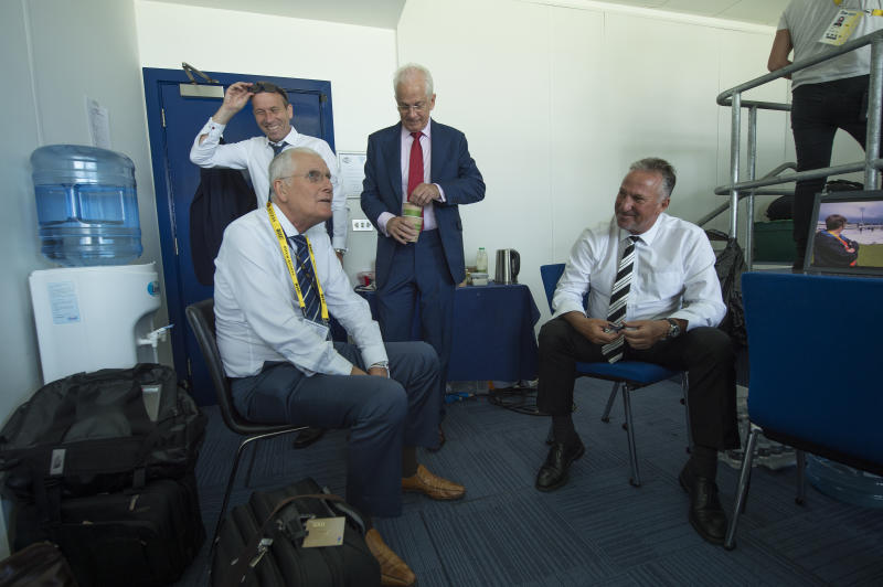 BIRMINGHAM, ENGLAND - AUGUST 18: Former England Captains and current Sky Sports commentators (L to R) Michael Atherton, Bob Willis, David Gower and Ian Botham during day two of the 1st Investec test match between England and West Indies at Edgbaston Cricket Ground on August 18, 2017 in Birmingham, England. (Photo by Visionhaus/Corbis via Getty Images)