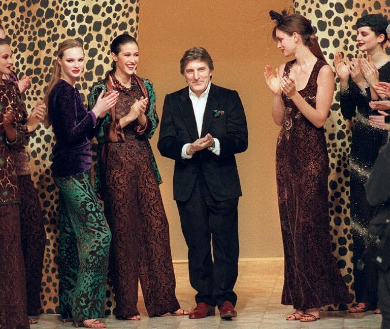 French designer Emanuel Ungaro, pictured at a show in 1997, quickly imposed his own colourful style on the world of fashion