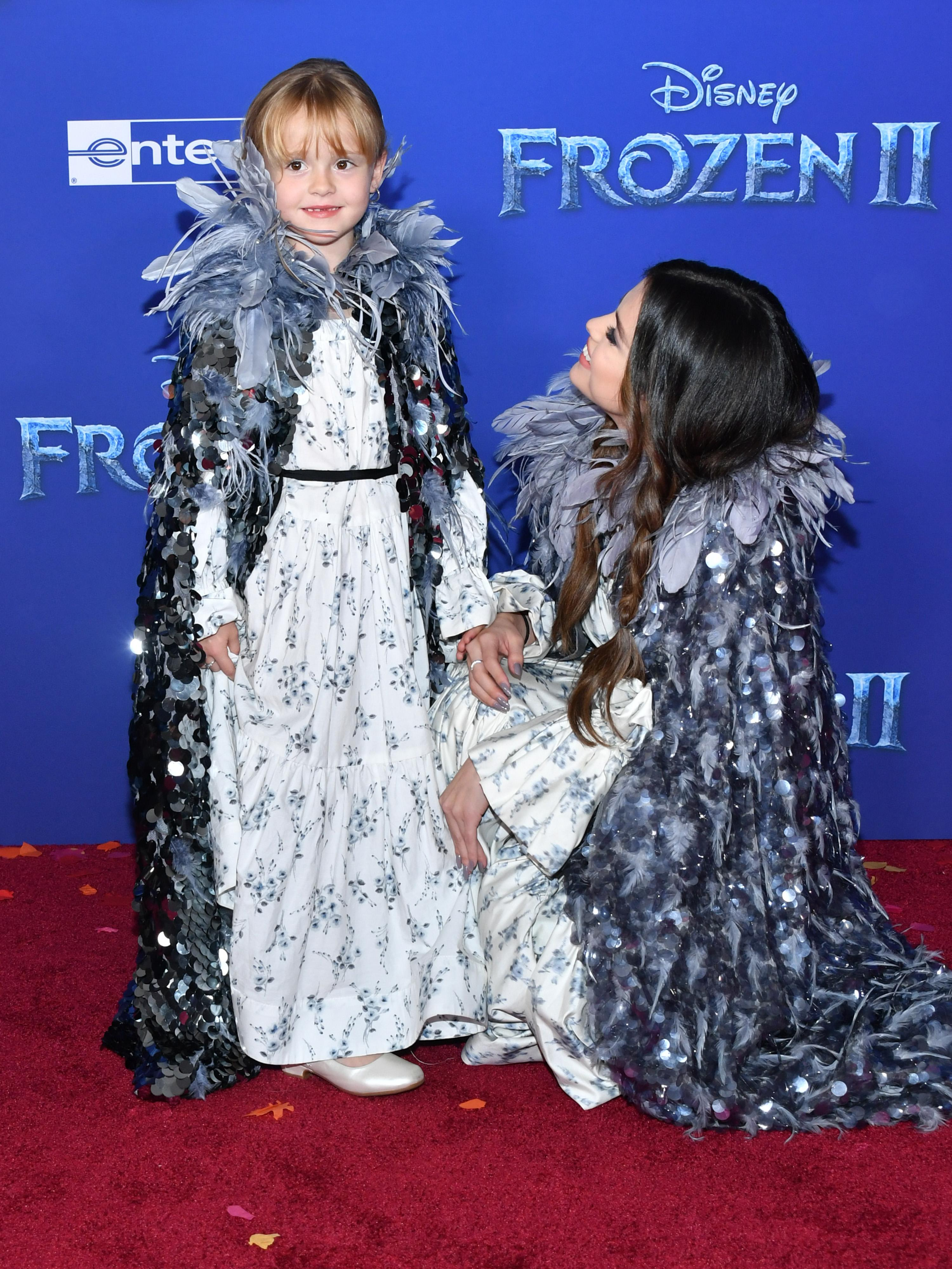 Gracie Teefey and Selena Gomez attend the premiere of 'Frozen 2'. [Photo: Getty]