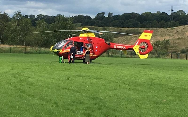 A boy was airlifted to hospital after being impaled through the neck by a training pole while playing football with his friends - SWNS