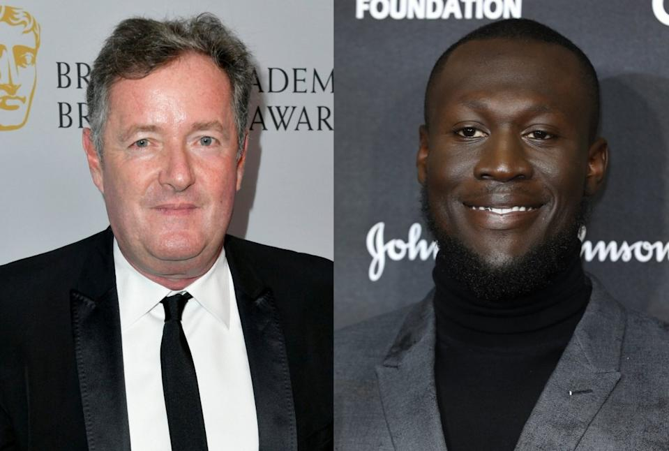 Piers Morgan has slammed Stormzy for telling a group of primary school students that Boris Johnson is a 'very bad man' (Tim P. Whitby/Frazer Harrison/Getty Images)