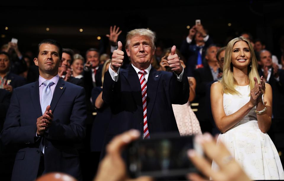 Donald Jr., Donald, and Ivanka Trump at the Republican National Convention. (Photo: Getty Images)